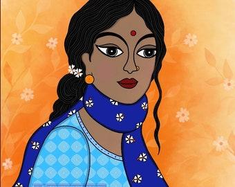 Print Shiuli / Autumn Indian Folk Art Wall Decor