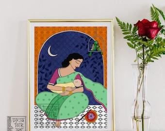 Print Breastfeeding mother Indian Folk art Wall decor