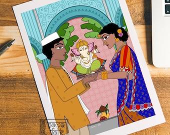Print Ganesha Indian wall art home decor
