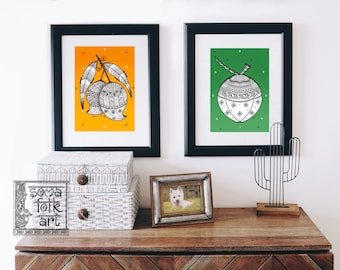 Print Mango and Coconut Madhubani Indian Folk art Wall decor (Set of 2 designs)
