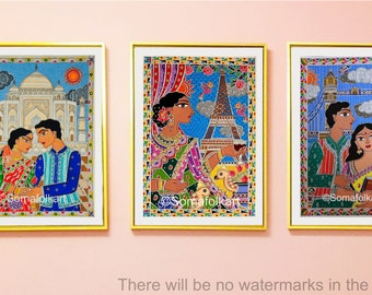 Set of 3 Madhubani Destinations  ( Tajmahal , Eiffel Tower , Tower Bridge ) Indian art wall art
