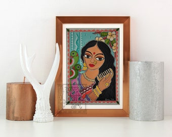 Print Madhubani Lady with her Parrots painting Indian Wall decor
