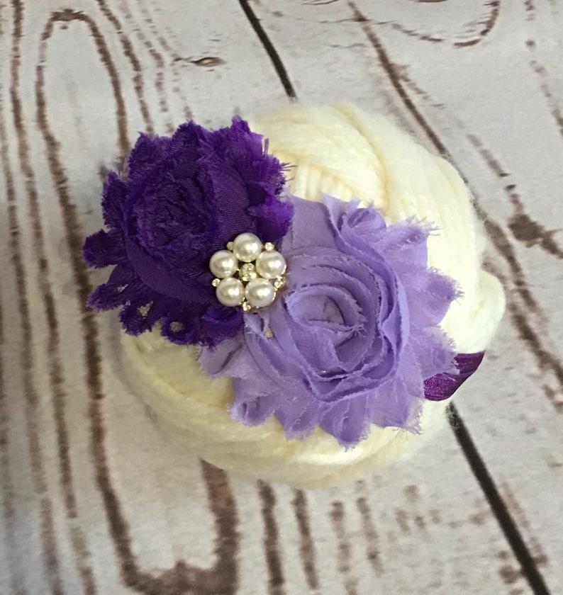 Flower Baby Headband Baby Girl Headband Purple Headband Baby Flower Headband Baby Photo Prop Gift Baby Girl Flower Headband