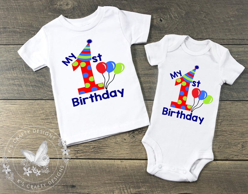 My 1st Birthday T Shirt First Baby Boys