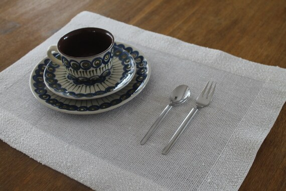 HANDGEWEBTE PLATZSETS LINEN natural grey 35 x 45 cm