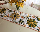 Autumn Table runner with sunflowers Thanksgiving accent fabric Centerpiece Fall Harvest Floral Decor October Monthly Leaves quilt vine Gift