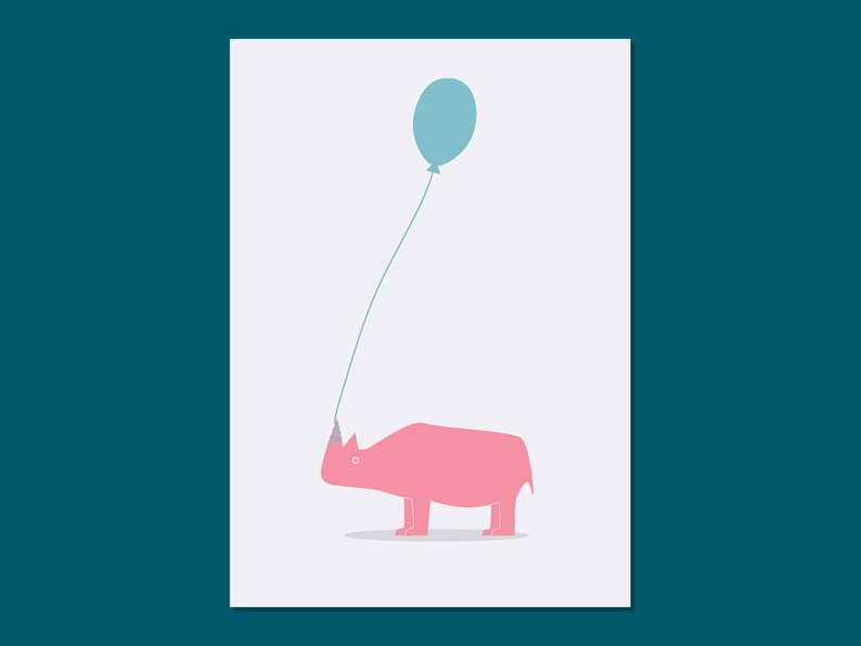 the rhino with the balloon // greetings card image 0