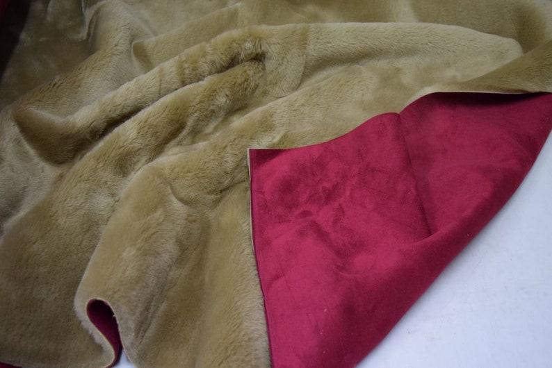 Textilgrosshandel24 Dark Red dark Beige Luxurios Suede  Fur Fabric 4179