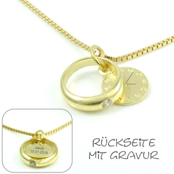 Christening Chain Taufring Gold Incl Time Name Date