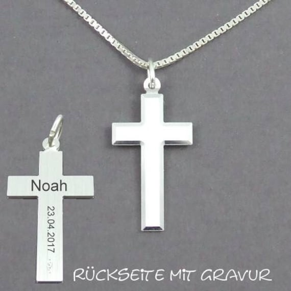 Gravur Taufuhr Kreuz Anhänger Name Datum Uhrzeit Gravur und Kette Silber 925