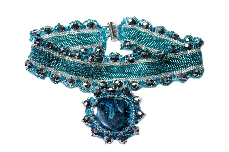 Turquoise jewelry Statement necklace Embroidered pendant choker Turquoise glass cabochon Necklace Beaded choker Gift for Her Mothers gift