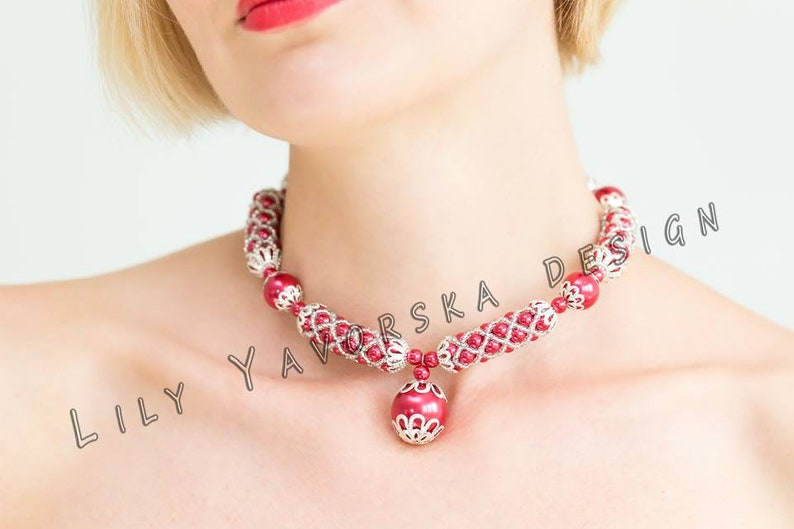 Red beaded choker necklace Bangle beaded bracelet Red beadwork necklace