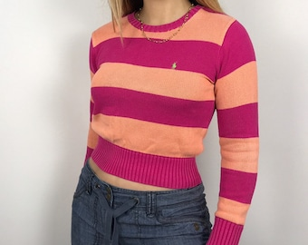 bd3781e17a302 90 s bold striped Ralph Lauren cropped jumper