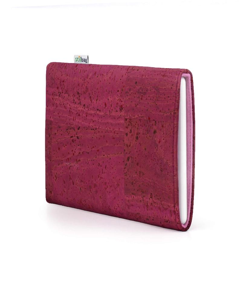 E-book Reader H\u00fclle aus Kork und Wollfilz  Farbe pink altrosa