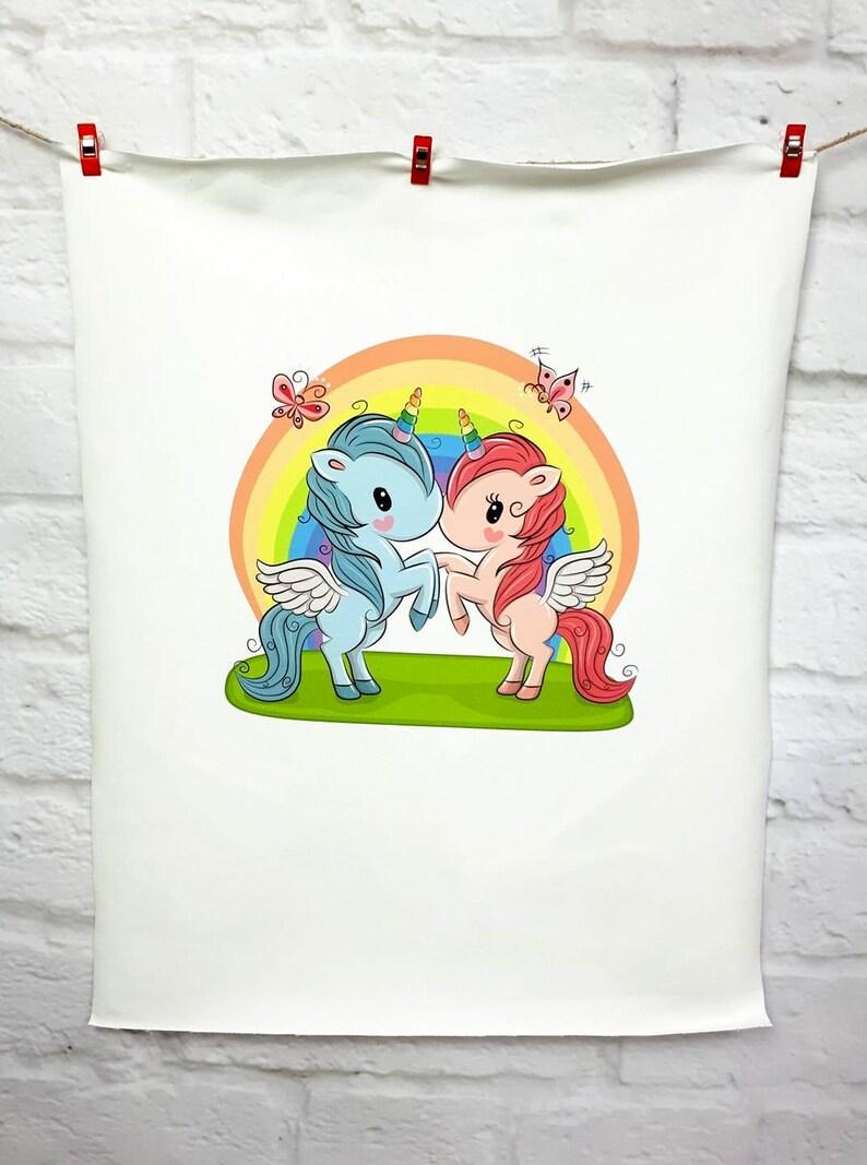 0ad87b6acc1 Jersey panel Unicorn in Love Rainbow | Etsy