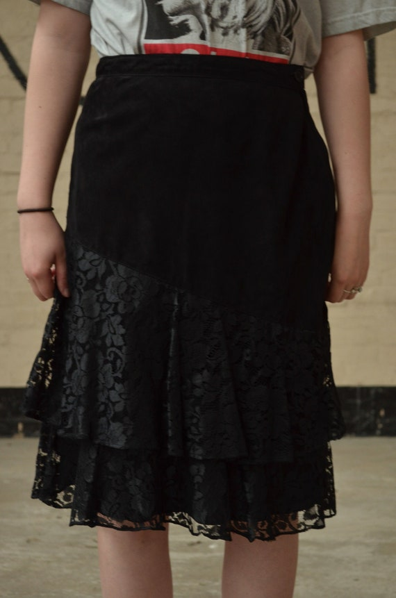 Vintage Black Suede and Lace Midi Skirt