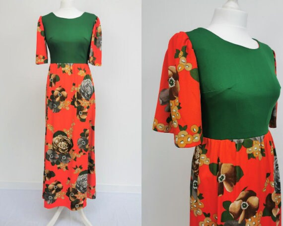 Vintage Red and Green Floral Maxi Dress 70s 80s