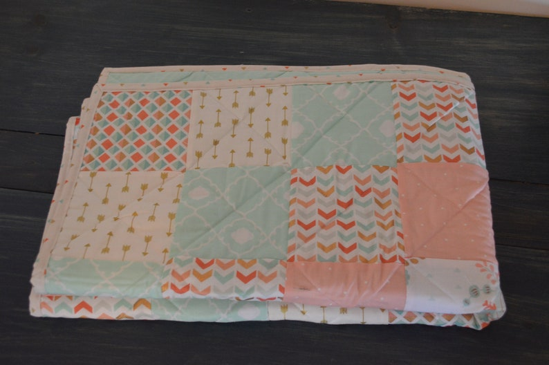 and gold Geometric and flower fabric Baby Quilt pink turquoise Square pattern