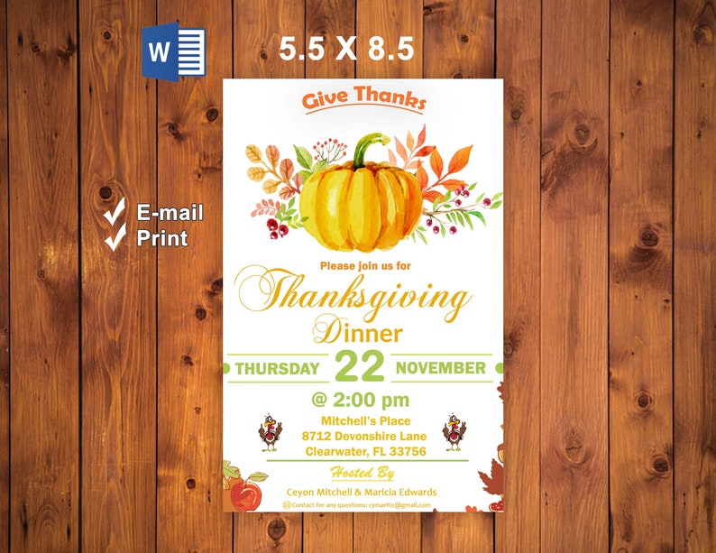 Wall Art Microsoft Word Printable Thanksgiving Dinner Invitation Template Email Instant Download Printable