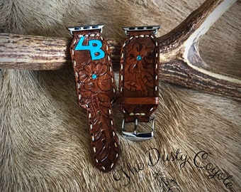 tooled leather apple watch band