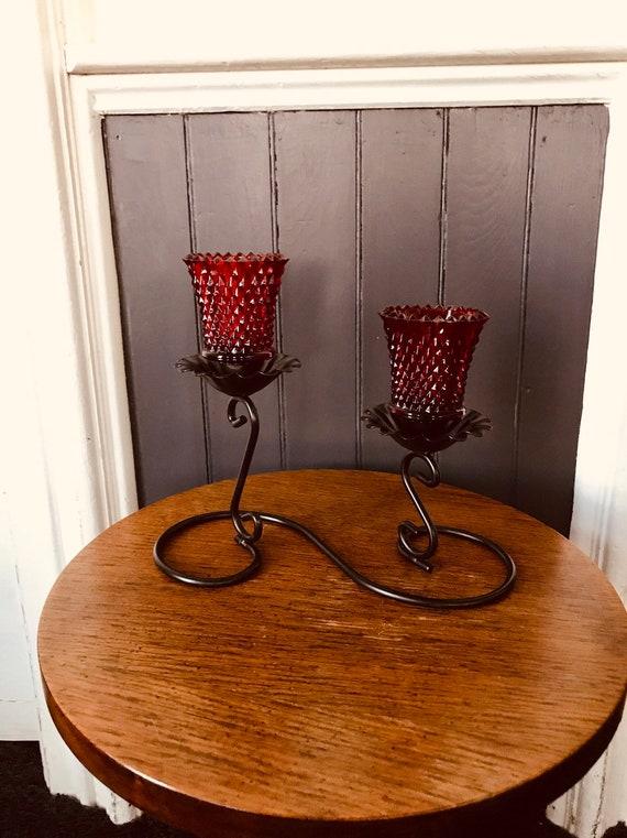 halloween decoration pair skull black glass tealight votive candle holder set