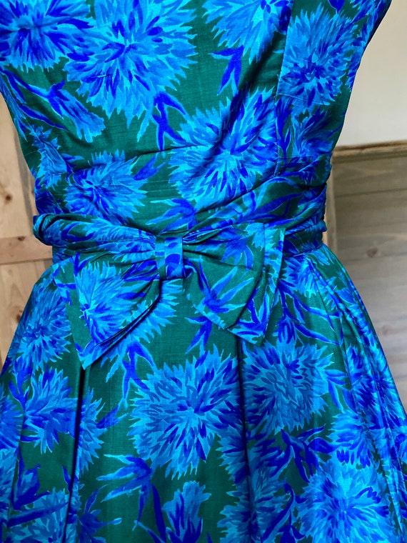 Vintage 1950s Naturally Natlynn NY Blue Floral, F… - image 9