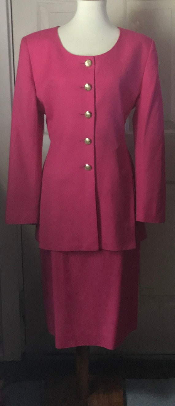 Christian Dior 1980s Hot Pink Power Suit - image 1