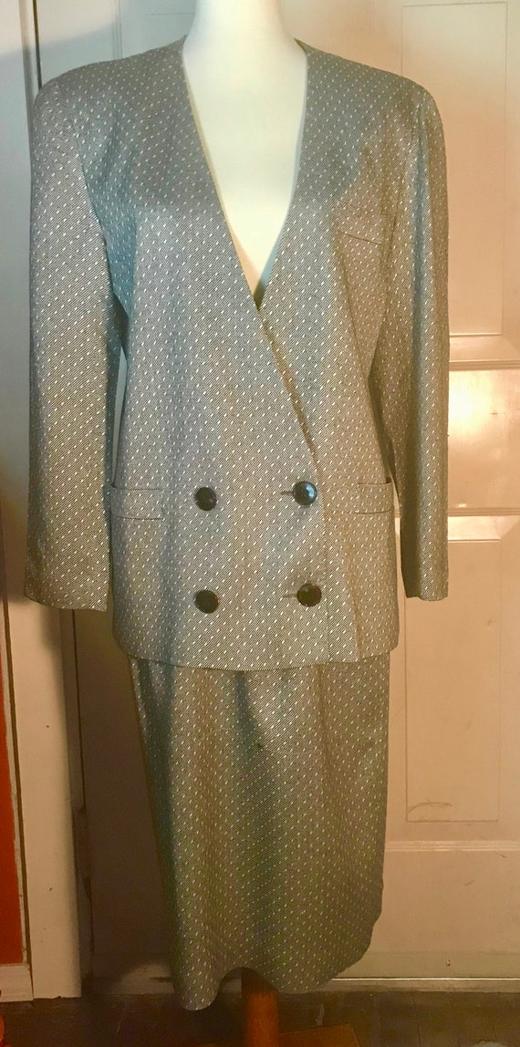 Christian Dior 1980s Gray and White Power Suit