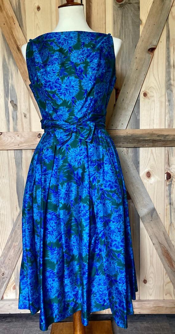 Vintage 1950s Naturally Natlynn NY Blue Floral, F… - image 2