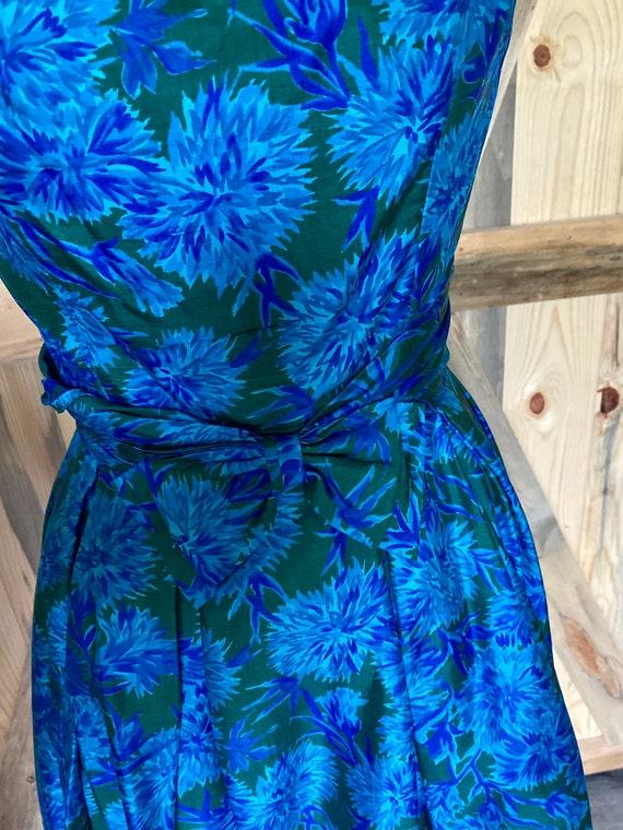Vintage 1950s Naturally Natlynn NY Blue Floral, F… - image 5