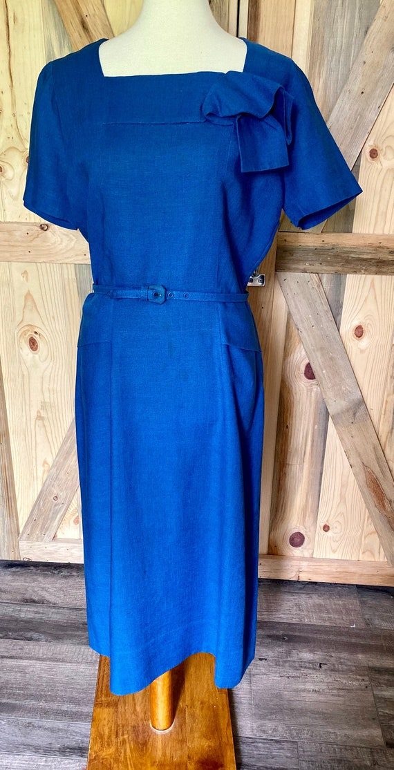 Chic Vintage Late 1940s Navy Blue Rayon Day Dress