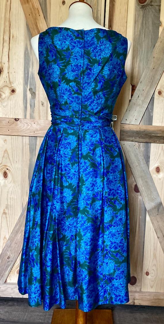 Vintage 1950s Naturally Natlynn NY Blue Floral, F… - image 3