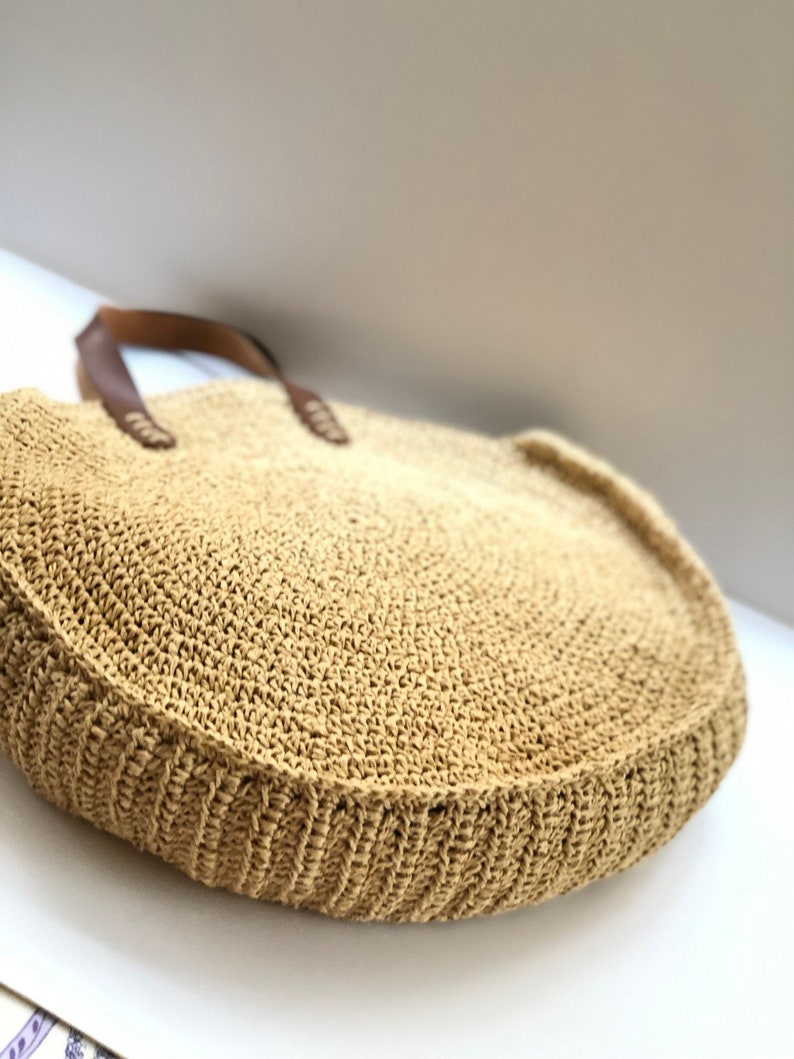 women\u2019s handbag casual bag raffia round bag crochet shoulder bag Circle crochet  handbag mothers day gift leather with tote bag