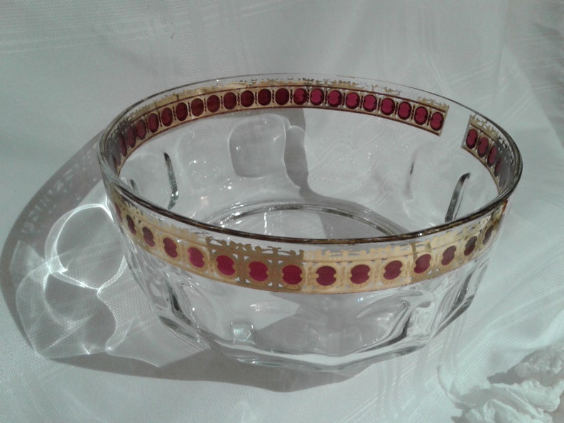 Arcoroc France Salad Bowl, Thumbprint Bowl, Gold and Red Trim, Large Bowl