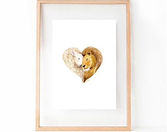 Lion And The Lamb Watercolour Print for Cute Nursery, Baby gift, Christian and Religious Ocassion
