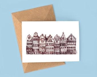 Ghent Illustration Postcard, print, collection, Patriot romantic Art Print, Wall Decor, Illustrated Gent Belgium