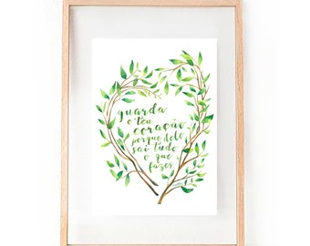 Proverbs 4:23 Above all else, guard your heart. Religious Christian Message Passage Bible Watercolour Print Personalize