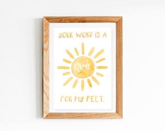 House Nursery Decor Prints | Bible Passage Nursery Prints | Your word is a lamp unto my feet | Nursery Wall Art | Baby Decor | Psalm 119:105