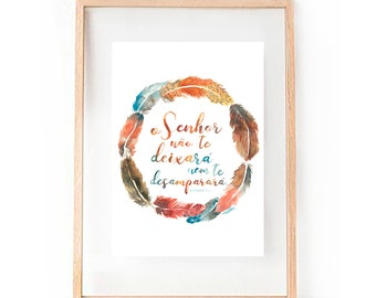 Deuteronomy 31:6 He will never leave you nor forsake you - Religious Christian Message Passage Bible Watercolour Print
