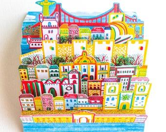Lisbon Harmonium Postcard Pop-up gift Portugal card DIY