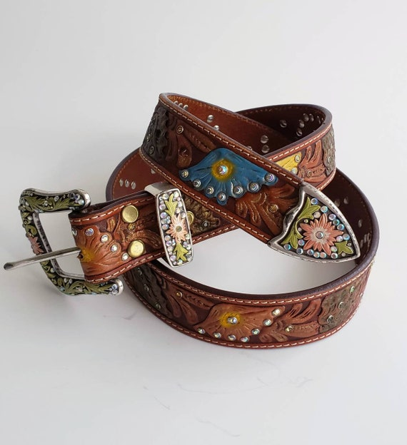 Multicolor Tooled Floral & Rhinestone Studded Leat