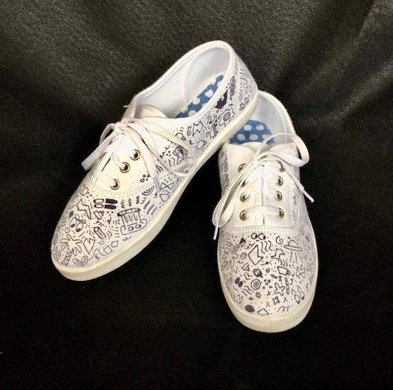 White Canvas Shoes Doodle Design