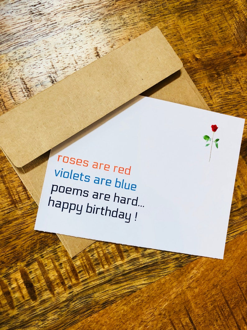 Romantic Poem Roses Are Red Birthday Card Funny Bday
