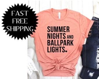 65f84155 Softball Mom Shirts Softball Shirts Softball Tees Summer Nights and Ballpark  Lights Tshirt Baseball Shirt Baseball Mom Shirts