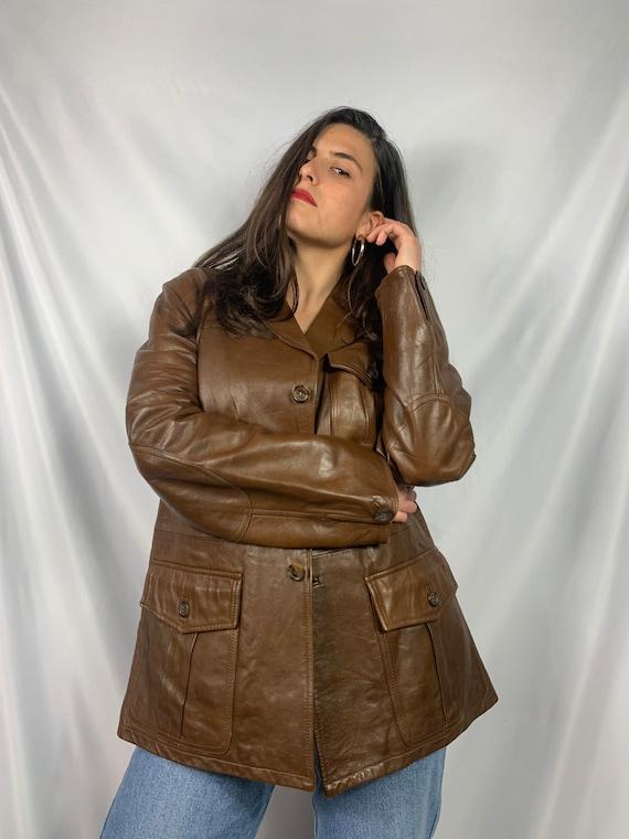 Vintage 80/'s Grey Genuine Leather Batwing Jacket  Blue Grey Real Leather Jacket  Belted Leather Pocket Jacket Size Small