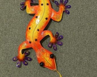 Gecko Lizard Salamander Lizard Wall Decoration Metal Colorful Purple 50 cm Garden Decoration Tin Figurine