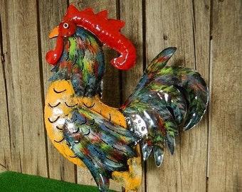 Rooster colorful metal bird iron animal gockel chicken hen decoration garden tin figurine chickens 40 cm