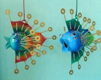 2 set fish puffer fish in metal for hanging metal fish decofigur garden hanging figure sculpture Maritim Baddeco