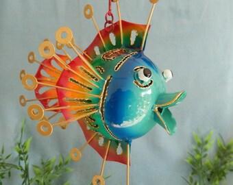 Fish puffer fish metal for hanging metal fish decoration figure garden 26 cm hanging figure sculpture Maritim