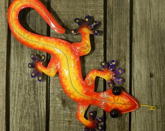Gecko Lizard Salamander Lizard Wall Decoration Metal Colorful Purple 40 cm Garden Decoration Tin Figurine